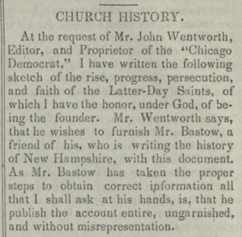 """The Standard of Truth: Chiasmus in Joseph Smith's """"Wentworth"""